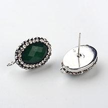 Jade Brass Rhinestone Earring Studs