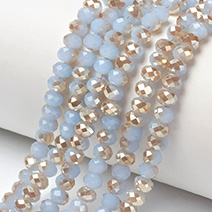 Imitation Jade Electroplate Glass Beads Strands