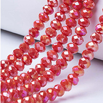 AB Color Plated Electroplate Glass Beads Strands