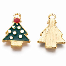Alloy Enamel Pendants, Christmas Tree