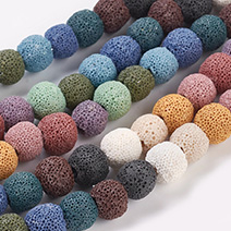Dyed Natural Lava Round Beads Strands