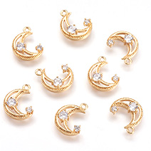Real 18K Gold Plated Cubic Zirconia Charms